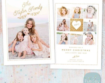 Holiday Christmas Card Template - Photoshop template - AC082 - INSTANT DOWNLOAD