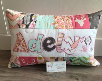 Arrow Flight and bucks pink personalized pillow case, 12x18 inches