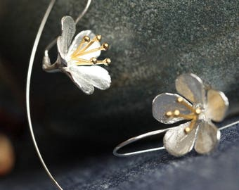 Long Silver and golden flower earrings, Cute dangle, Solid 925 Sterling Silver, botanical, floral, spring, Hibiscus, Affordable, UK Store