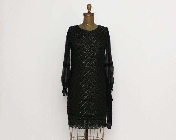 Vintage 1920s Black Silk Beaded Flapper Dress - Size Small