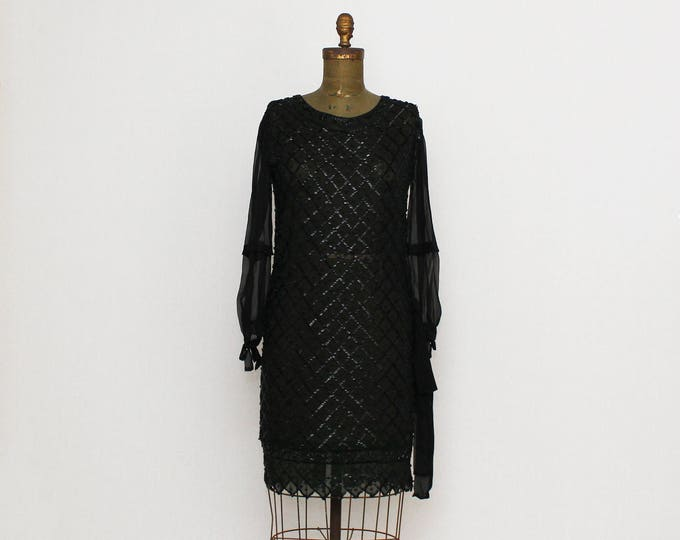 Vintage 1920s Black Silk Beaded Flapper Dress - Size Small