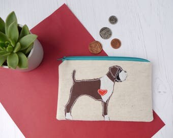 Boxer Dog Gift - Dog fabric coin purse  - zipper pouch - mini make up bag - coin zipper - gift for her - gift for mom - dog lover