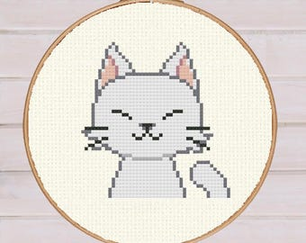 Cross Stitch Cat Face Embroidery