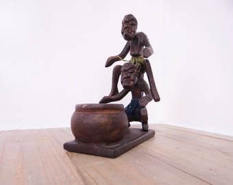 Vintage Carved Double Figure Bowl Holder, Hard Wood, African Sculpture, Wood Art, Wood Figurines
