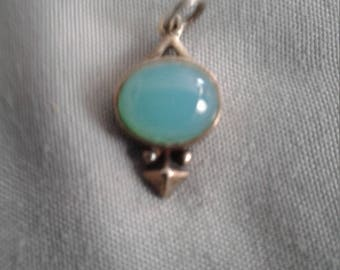 Sterling blue calcedony gemstone pendant