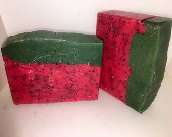 Watermelon Handmade Soap, juicy watermelon scented tallow soap, hand and body soap bar