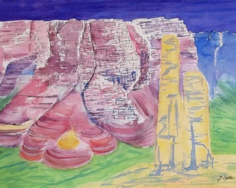 Canyon de Chelly, National Monument, USA, Original Watercolor, Landscape Painting, Abstract Painting, Canyon Painting