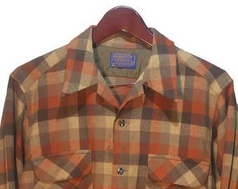 Vintage 1970's Pendleton Men s Brown Grey Plaid Wool Button loop Collar Flap Cover Chest Pockets Shirt Size M