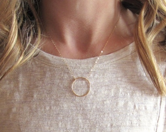 Large Open Circle Necklace, Simple Circle Necklace, Gold Eternity Ring Necklace, Delicate Gold Ring Necklace, 14k Gold Fill Ring and Chain