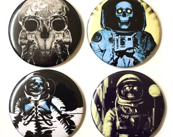 Skull Astronauts Fridge Magnets Set x4 55mm Novelty Magnet Space Skeleton