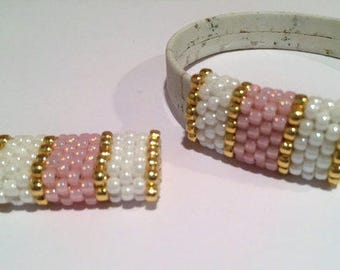 SALE: 10mm Flat Handmade Beaded Tube, Frosted Pink, White, Gold, Half Round, Slider, Bead, Jewelry supplies, leather finding