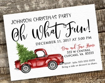 Christmas Party Invitation, Truck Printable Christmas Invitation,  5x7 or 4x6, Holiday Party Invitation, DIY Holiday Printable Invitation