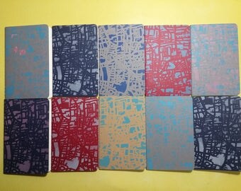 Hand Stencilled  Moleskine Notebook- Stocking Filler- Printed Journal- Urban Map of East London- Handmade