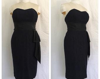 Vintage 1950's Black Lace Wiggle Dress