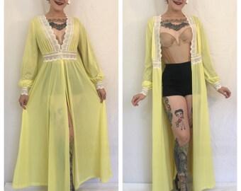 FLASH SALE Vintage 1960's Yellow Maxi Slip Dress