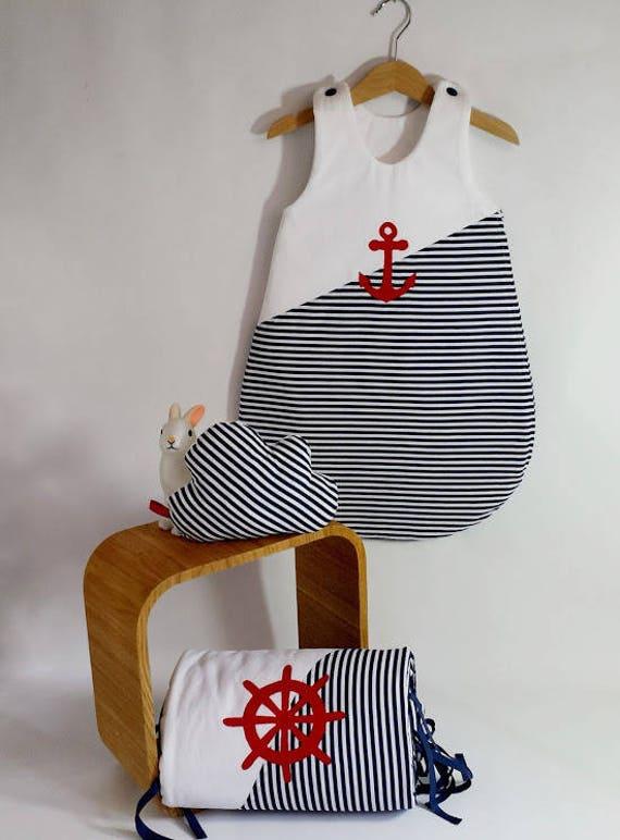 sur commande ensemble tour de lit et gigoteuse 0 6 mois marin. Black Bedroom Furniture Sets. Home Design Ideas