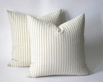 Grey Ticking Stripe pillow cases by Pillomatic / Solid grey Pillow Cover / Grey Ticking Pillow Cover / Machine washable pillow case