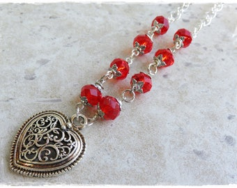 Filigree Tibetan silver heart necklace, Red crystal necklace