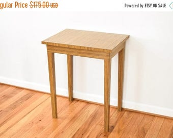 SALE mid century accent table, modern end table, wood end table, unique mid century modern wood grain laminate accent table, vintage