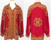 Vintage Silk Button Blouse Baroque Gold Size XL Collar Long Sleeve Shirt Top