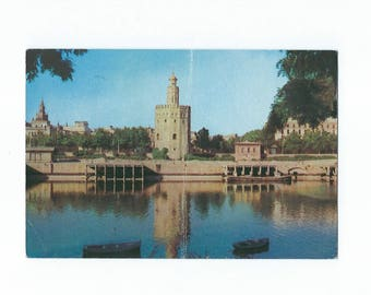 Vintage Sevilla, Gold Tower Postcard - Spain 1958- S56