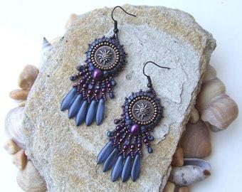 Dark Blue Beaded Earrings, Purple Blue Earrings for Wedding, Bohemian Earrings for Women, Bead Embroidery Jewelry, Blue Embroidered Earrings