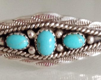 Native American Navajo Turquoise Sterling Silver Row Bracelet Signed Marie Begay