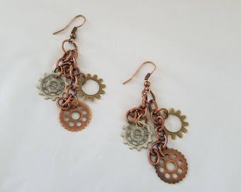 Steam Punk Earrings, Pierce Earrings, Dangling Earrings