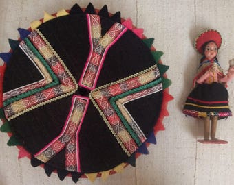 Vintage Traditional Quechua Hat from Peru + Vintage Peruvian Doll