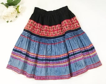 1970s Patchwork Skirt / 70s Embroidered Tribal Blue Short Skirt / Printed Stamped Unique
