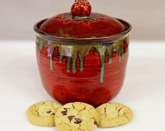 Wild Red Fire Ceramic Cookie Jar