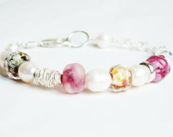 Romantic Raspberry Pink Lampwork Bracelet. Wedding Bracelet. Birthstone Jewelry. Luxe Glass Jewelry. Artisan Jewelry
