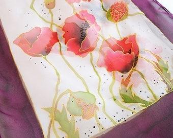 Poppies Silk Scarf- Poppy flower scarf- Hand Painted scarf- Scarf with Poppies- Burgundy Scarf- Floral Scarf- Silk Scarf Red- Women Scarfs