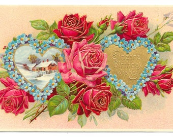 Hearts and Roses Birthday Postcard, 1910