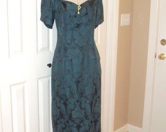 1980s Womens Scott McClintock Forest/Hunter/Emerald Green Cotton/Acetate Brocade Formal Wiggle Dress/ Emerald Green Peplum Dress  Size M-L