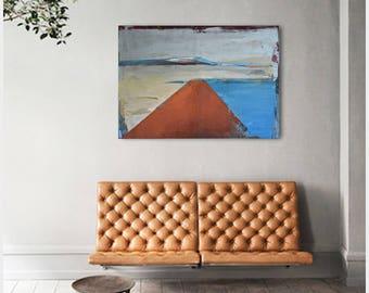 "FREE SCHIPPING!  ""Lake 70"". 100% Oil painting on cotton canvas. Unique impasto texture. 100/70 cm"