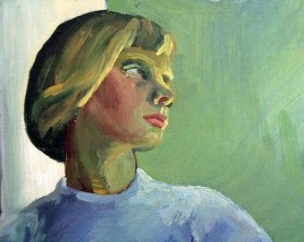 Vintage painting // 1940's 46cm x 38cm portrait of a woman // Uknown artist // Painted on Ab Nordström & Sjögren board