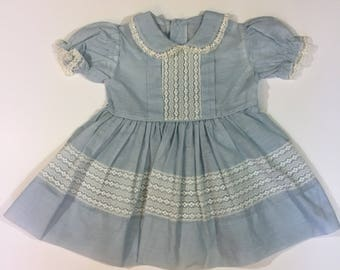 Vintage Party Dress - 3T - Vintage Toddler Dress - Blue Vintage Dress - 50's Toddler Dress - 60's Toddler Dress - Vintage Lace Dress - Sheer