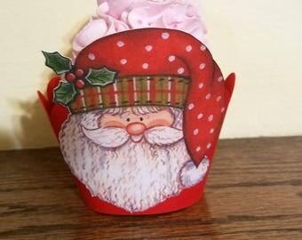 Santa Cupcake Wrappers, Santa Claus Cupcake Wrapper, Santa Cupcake Decor, Christmas Cupcake Wrappers