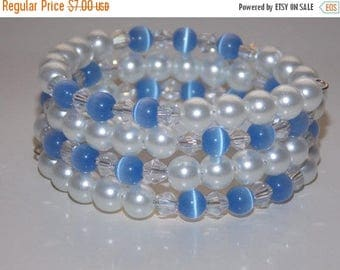 15%OFF Girls White Glass Pearls Blue Cats Eye Glass Bead Wrap Bracelet