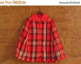 December Sale 1970s red plaid sweater cape • Thelma