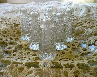 Glass Salt and Pepper Shakers Set of 6 Textured Glass Plastic Screw Lids