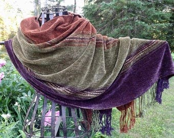 Handwoven Rayon Chenille Wrap/Shawl in new Colors Olive, Eggplant & Copper