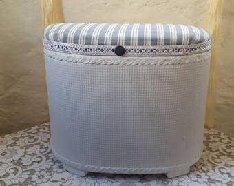 Refurbished Lloyd Loom Style Laundry / Linen Basket / Ottoman