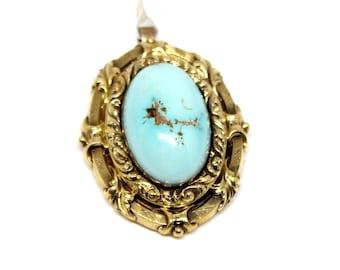 14k Turquoise Yellow Gold pendant Circa 1870s Antique
