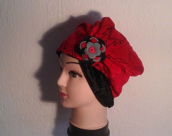 Hat chemo reversible stretch red and black, woman, girl for the winter