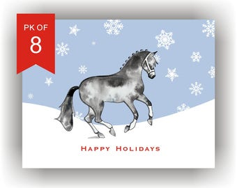 Christmas Cards Set of 8 | Hand Illustrated Horse Holiday Card Set with snowflakes/Equine  Christmas Cards/pirouette