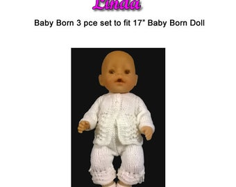 Baby Born Knitting Pattern (LINDA) fits 16 to 17 inch dolls (pattern only)