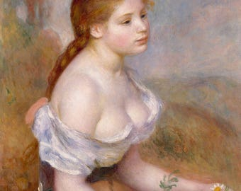 "Pierre-Auguste Renoir : ""A Young Girl with Daisies"" (1889) - Giclee Fine Art Print"