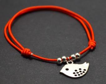 Bird red cord bracelet